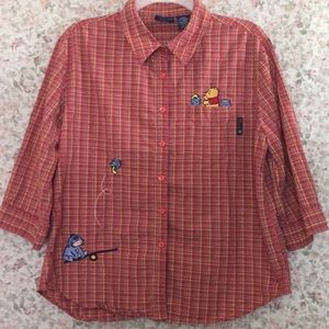 Winnie the Pooh 3/4 Sleeve Button-up Shirt